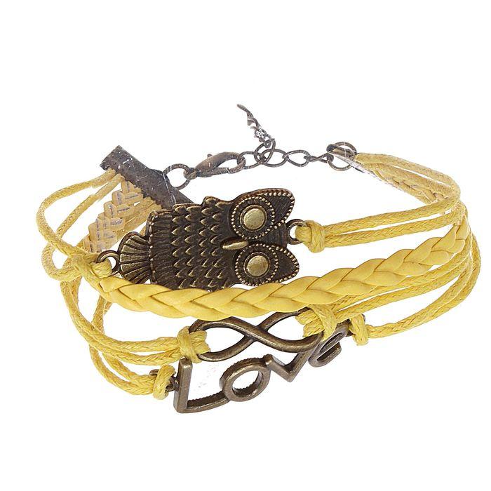 Браслет кожа Совушка и бесконечность 5 нитей, цвет желтый