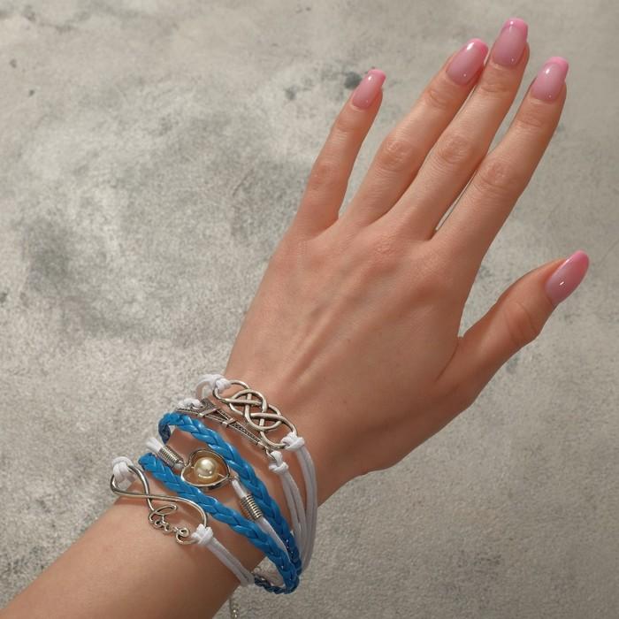Браслет кожа Париж, 6 нитей, цвет голубо-белый