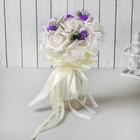 Букет «Поздравляю», 9 цветов, цвет сливочно-фиолетовый