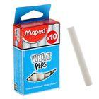 Мелки белые Maped White'Peps, в наборе 10 штук, круглые, специальная формула «без грязи»