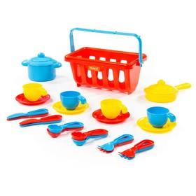 Корзина с детской посудой TOP chef на 4 персоны, цвета МИКС