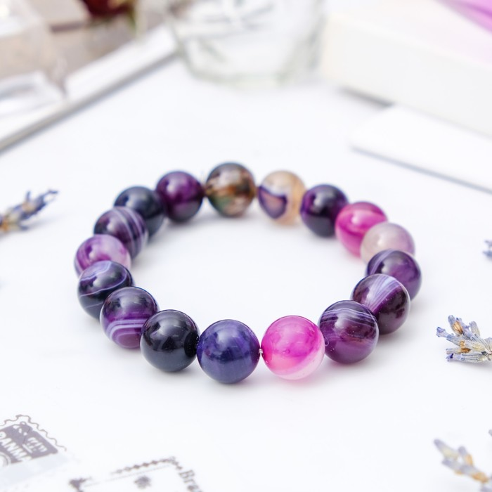 Браслет шар №12 Агат фиолетовый