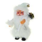 Дед Мороз 22 см в пушистой белой шубе с подарком