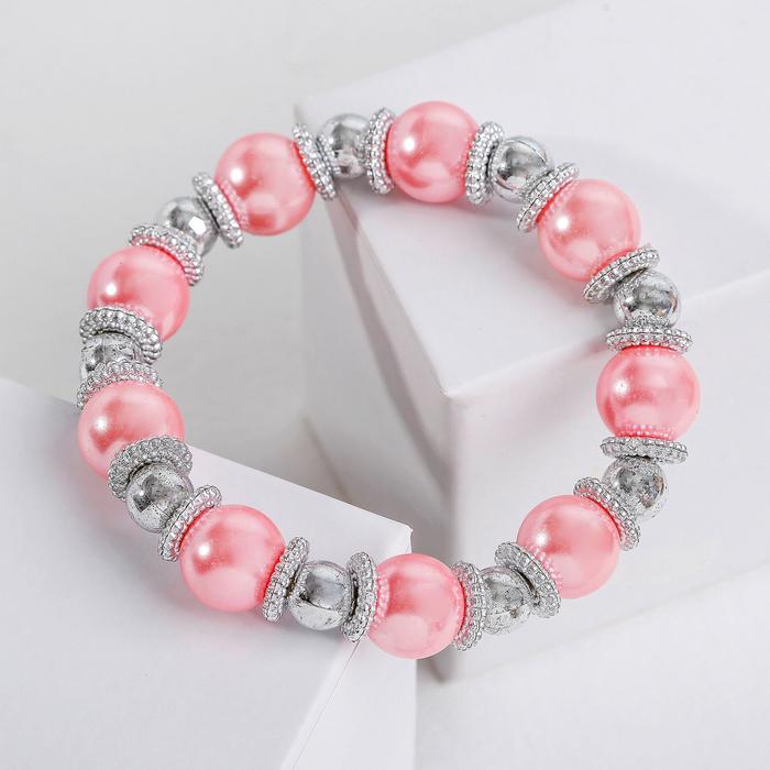 Браслет жемчуг Бусинка, цвет розовый в серебре