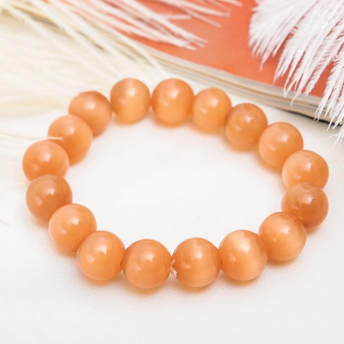 Браслет Кошачий глаз шар №12, цвет персиковый