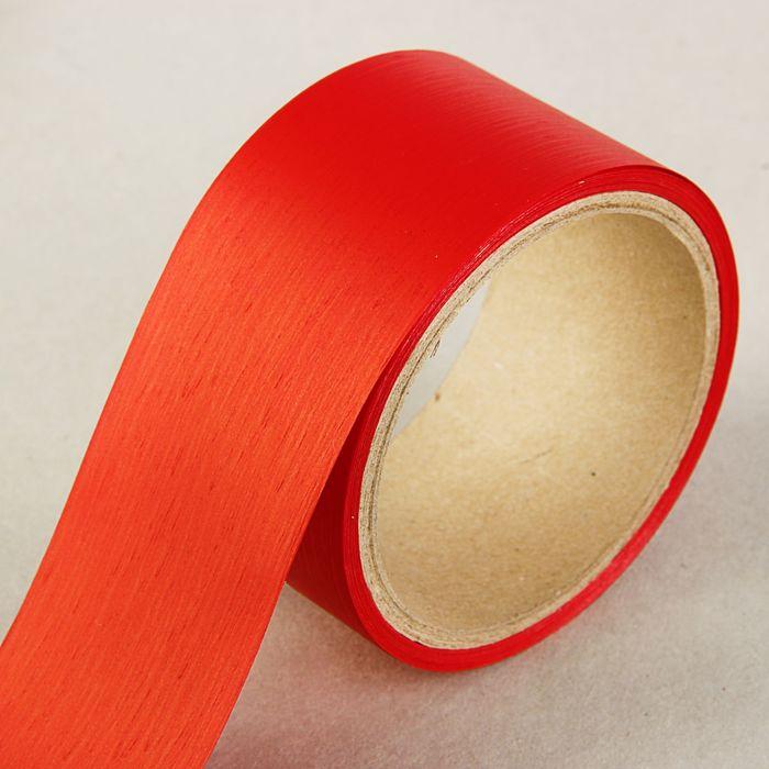 Лента для декора и подарков Аспидистр 5 см х 10 м, тиснение, красная