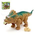 """Динозавр """"Трицератопс"""", работает от батареек, откладывает яйца, световые и звуковые эффекты"""