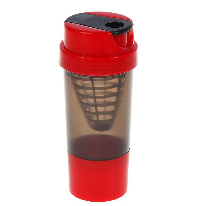 Шейкер 500 мл, с сеточкой-конус, доп. контейнер и крышка красные, чёрный, 10х22 см