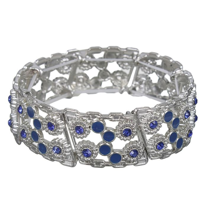Браслет с эмалью Настроение круги, цвет синий в серебре