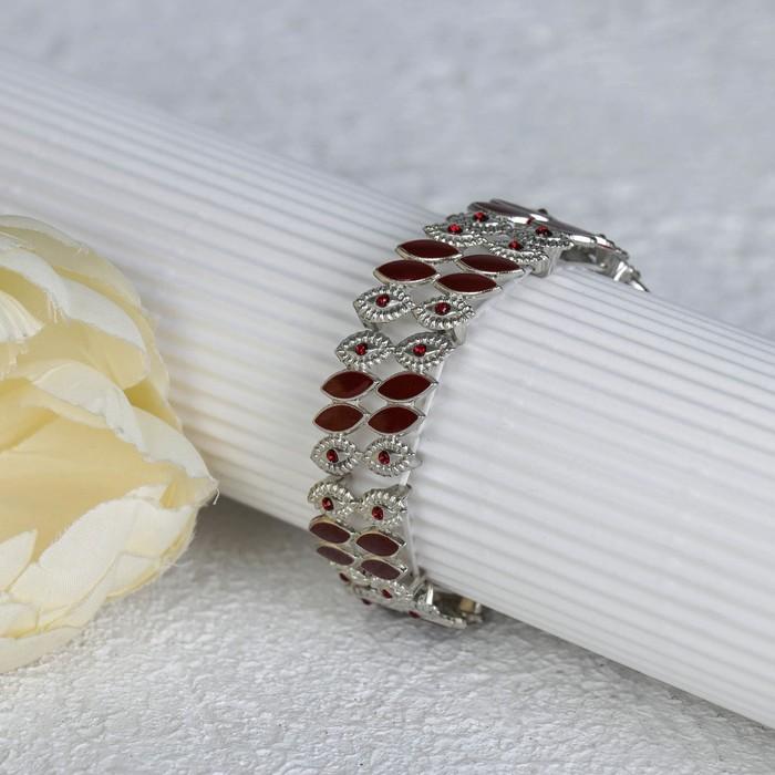 Браслет с эмалью Настроение эллипсы, цвет красный в серебре