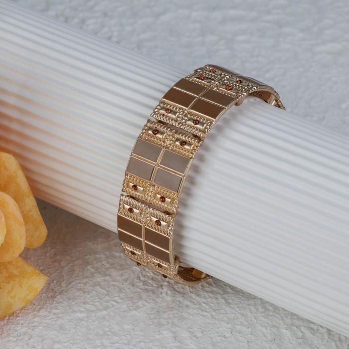 Браслет с эмалью Настроение прямоугольники, цвет коричневый в золоте