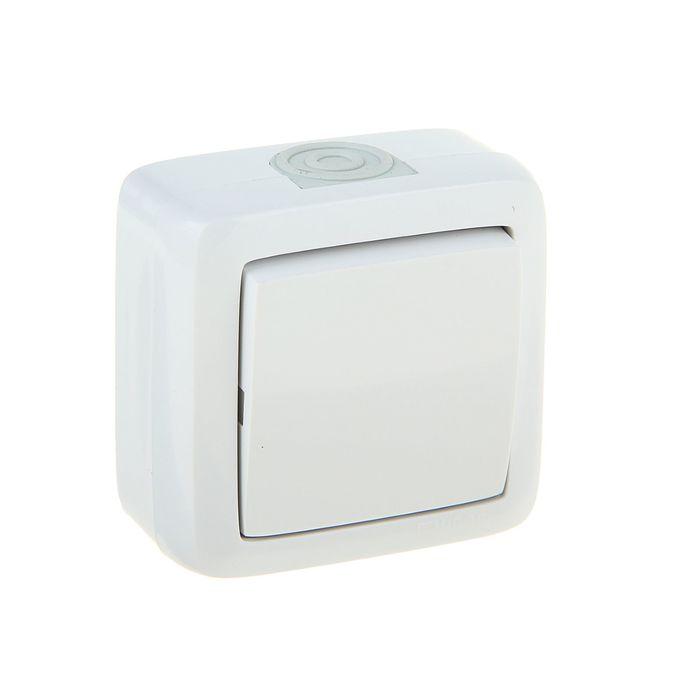 Выключатель HEGEL ВА10-211, 10 А, 1 клавиша, наружный, IP44, цвет белый