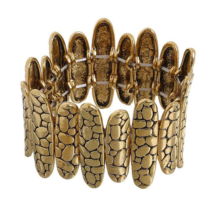Браслет металл Рельеф овалы, цвет чернёное золото