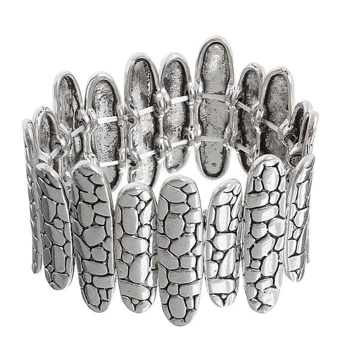 Браслет металл Рельеф овалы, цвет чернёное серебро