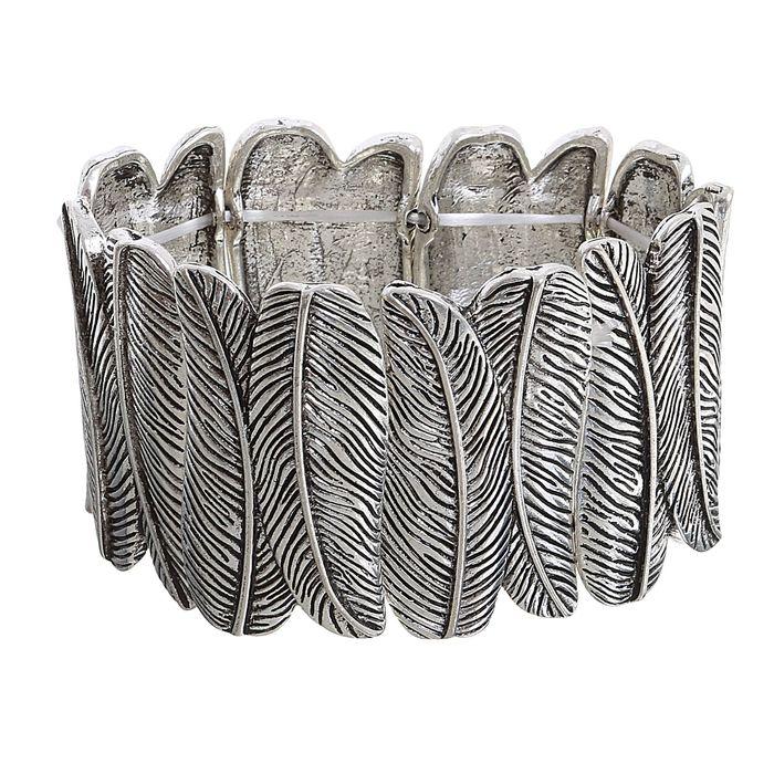 Браслет металл Рельеф перо, цвет чернёное серебро
