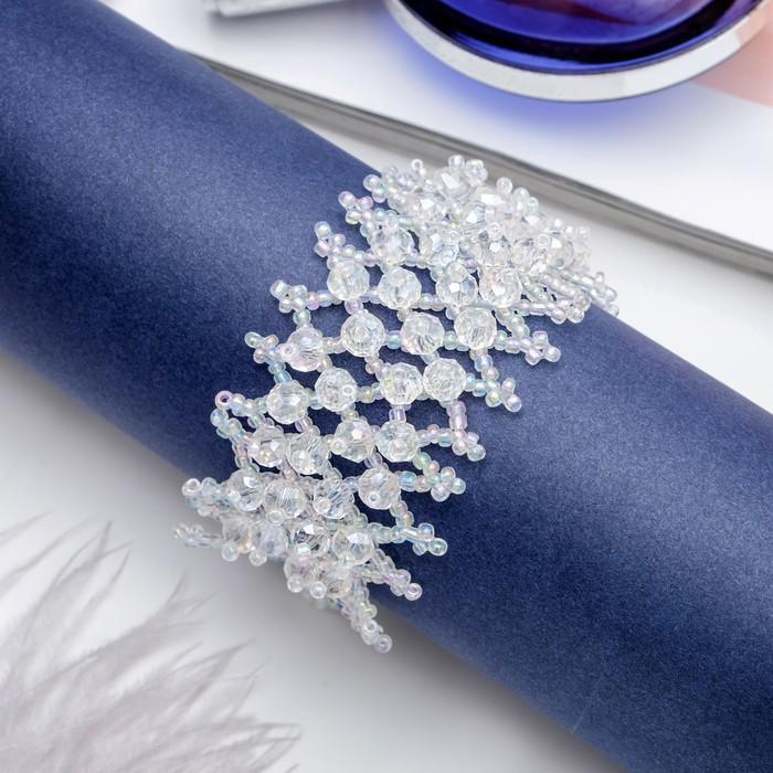 Браслет из бисера Плетение бусины, цвет бело-радужный
