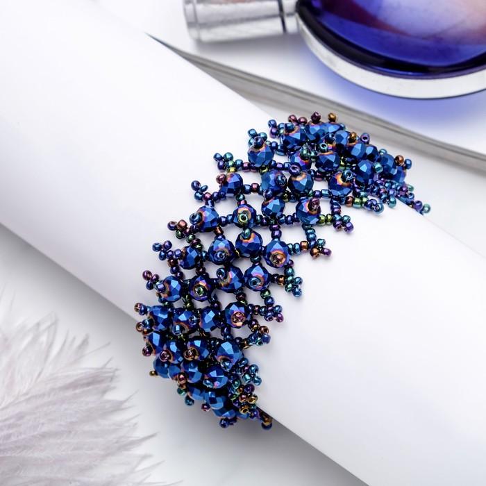 Браслет из бисера Плетение бусины, цвет сине-радужный