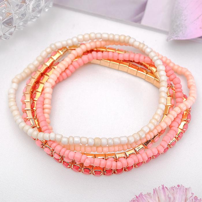Браслет ассорти Настроение, 5 нитей, цвет розовый в золоте