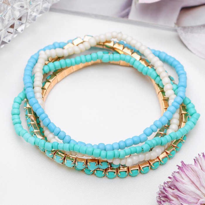 Браслет ассорти Настроение, 5 нитей, цвет голубой в золоте