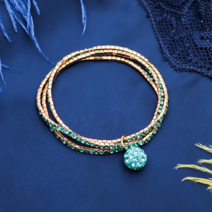 Браслет со стразами Шамбала 3 нити, цвет зелёно-голубой в золоте