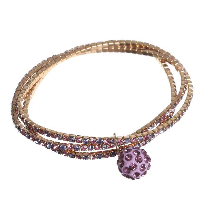 Браслет со стразами Шамбала 3 нити, цвет фиолетово-голубой в золоте