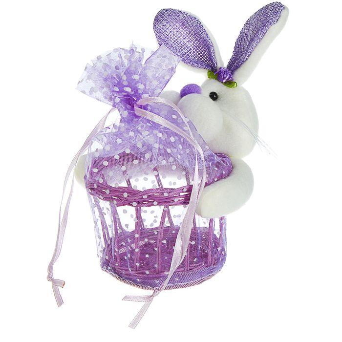 Подарочная упаковка Усатый зайка в горошек, цвета МИКС
