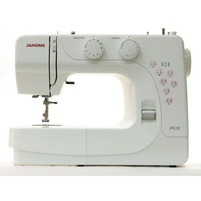 Швейная машина Janome PX-18, 13 операций, потайная строчка, полуавтомат обработка петли