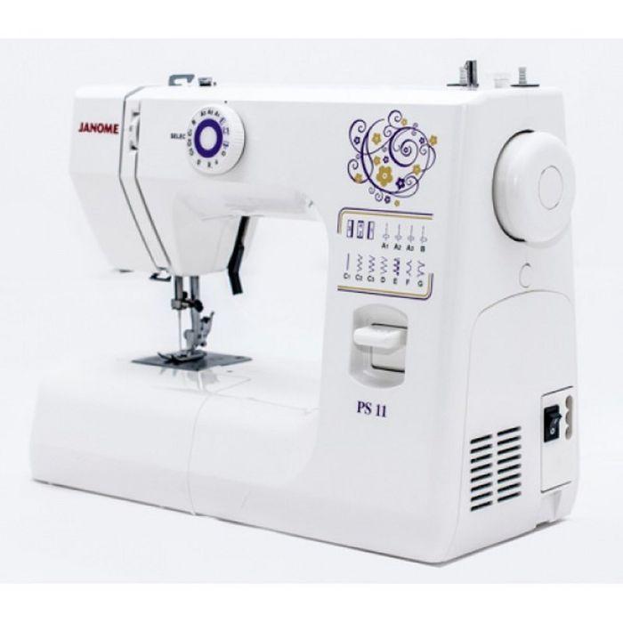Швейная машина Janome PS-11, 7 операций, обметочная, потайная, эластичная строчка, белый