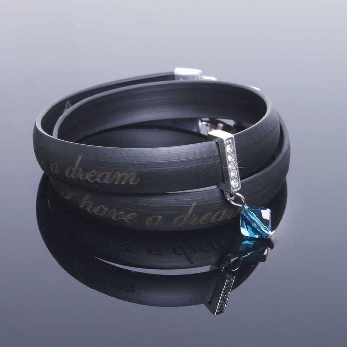 Браслет Dream, цвет синий в чернёном серебре