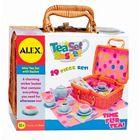 Чайный сервиз фарфоровый «Горошек» в плетеном чемоданчике, 18 предметов