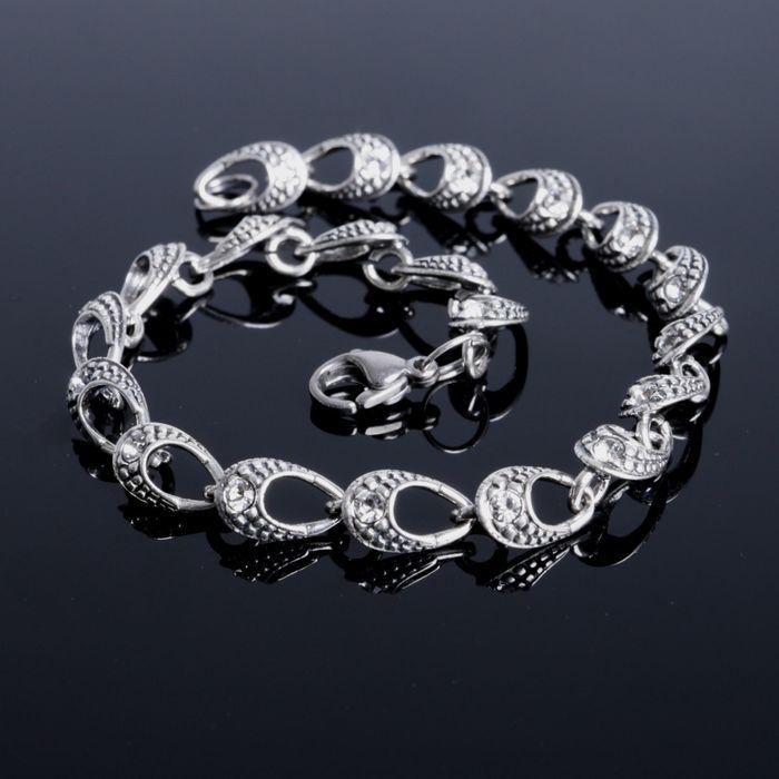 Браслет Аврора, цвет белый в чернёном серебре