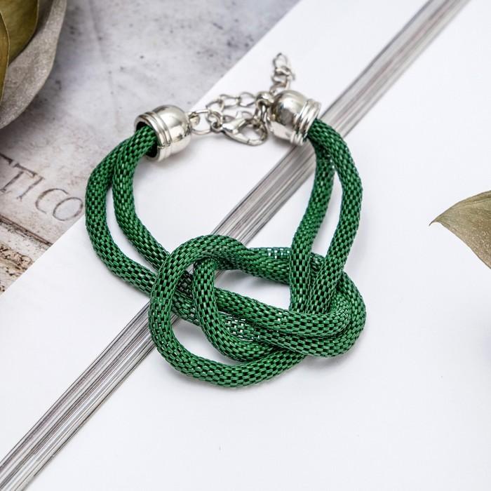 Браслет металл Жгут 2 нити, узел, цвет зеленый в серебре