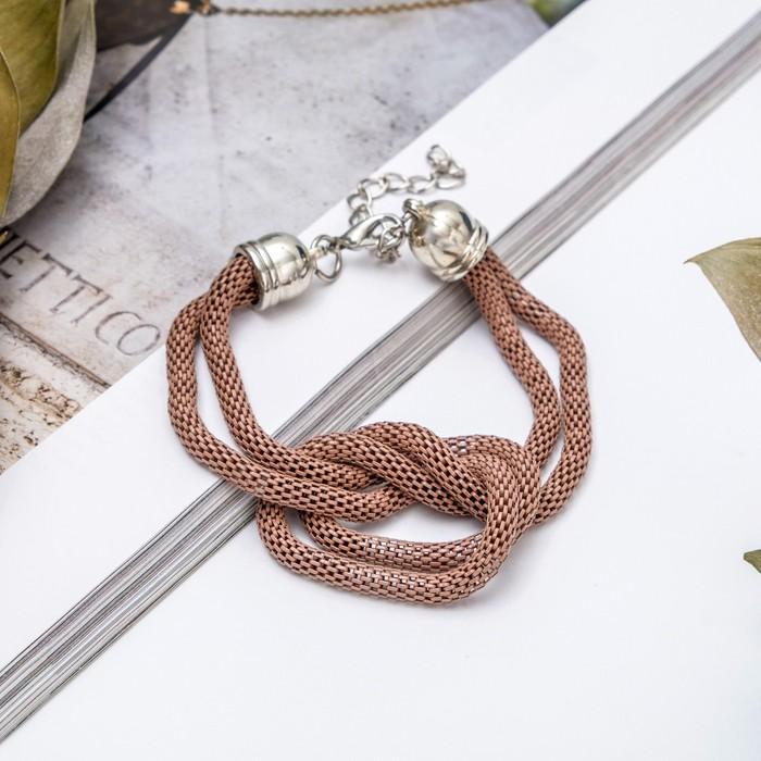 Браслет металл Жгут 2 нити, узел, цвет коричневый в серебре