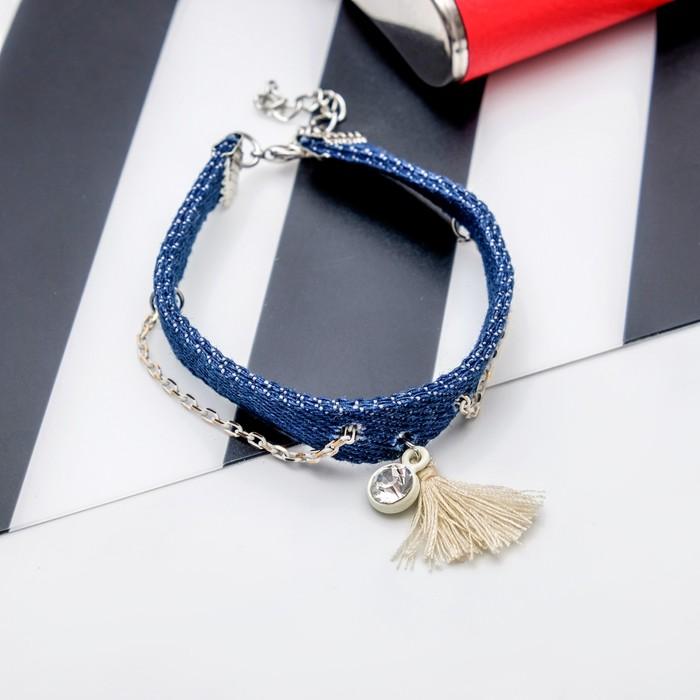 Браслет ассорти Джинсовый стиль цепочка, цвет бело-голубой с серебром