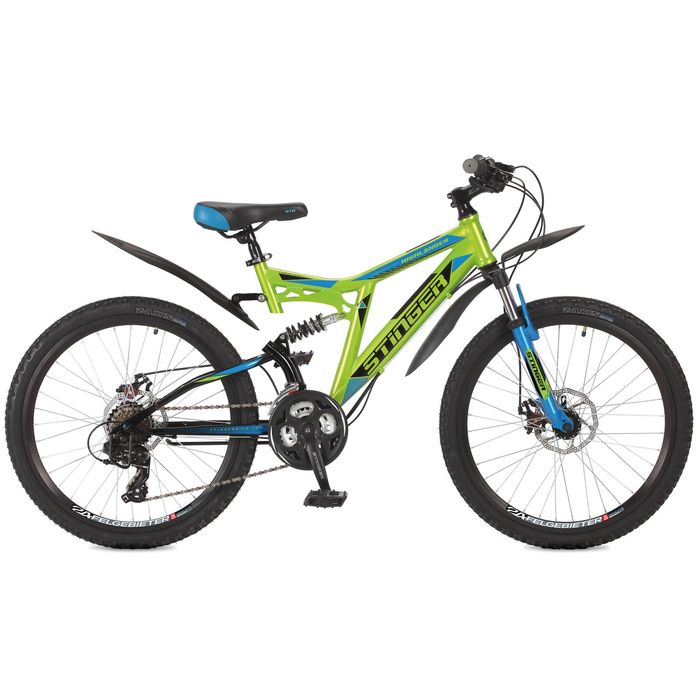 Велосипед 24 Stinger Highlander 200D, 2017, цвет зелёный, размер 14