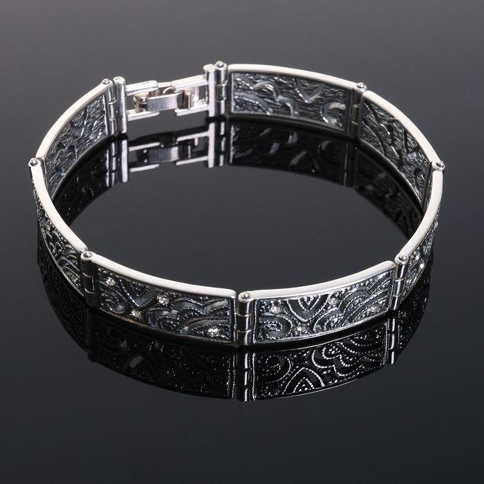 Браслет Шанжан, цвет белый в чернёном серебре