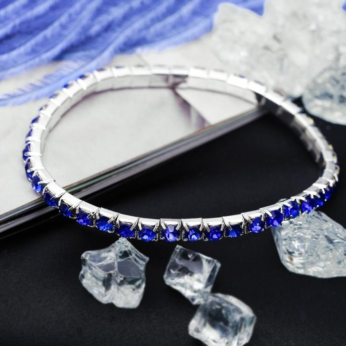 Браслет со стразами Лёд 1 ряд, цвет синий, 4мм