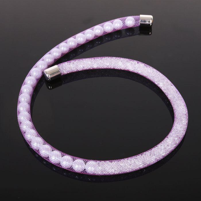 Браслет жемчуг Стардаст, цвет бело-фиолетовый