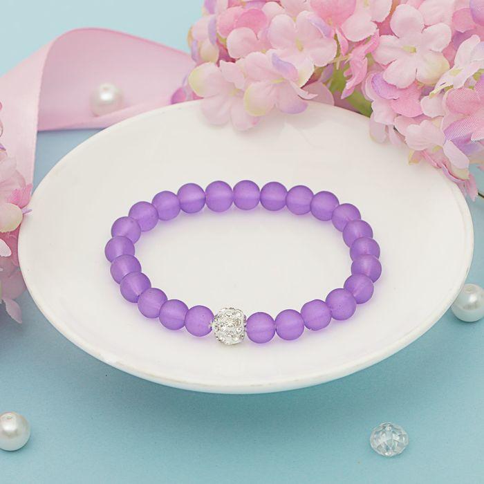Браслет пластик Бусины шамбала, цвет фиолетовый