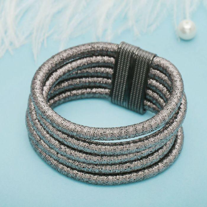 Браслет ассорти Шанталь 5 нитей, цвет цвет серый в сером металле