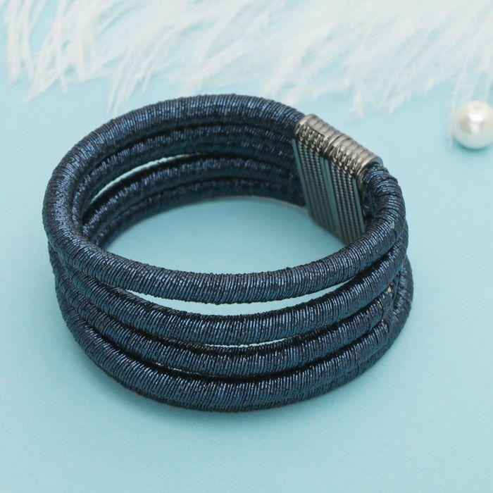 Браслет ассорти Шанталь 5 нитей, цвет темно-синий в сером металле
