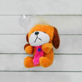 """Мягкая игрушка-присоска """"Собачка"""", шарф со звездой, цвета МИКС"""