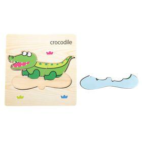 """Пазл-вкладыш на деревянном основании """"Крокодил"""""""