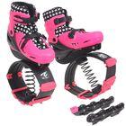 Ботинки для фитнеса прыгающие со сменной роликовой платформой р.30-34,цвет розовый в пакете