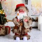 """Дед Мороз """"Лесовичок"""", с подарками и свечой, подсветка, двигается, русская мелодия"""
