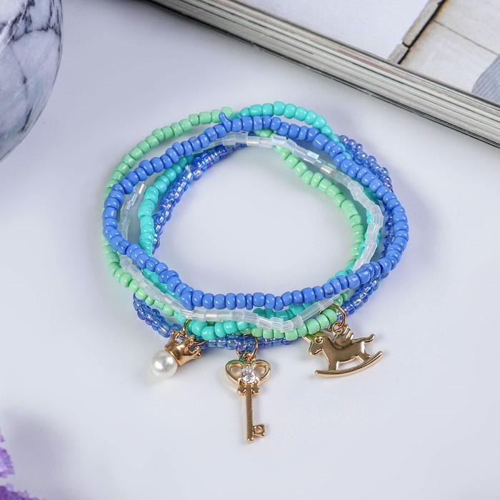 Браслет пластик Настроение, лошадка с ключиком, (набор 6 штук), цвет голубой