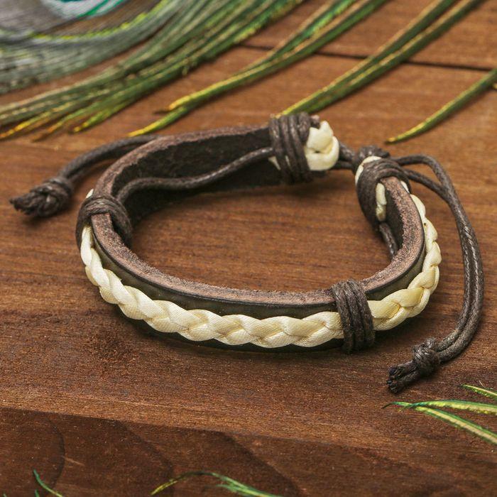 Браслет кожа Косичка на основании, цвет коричнево-бежевый