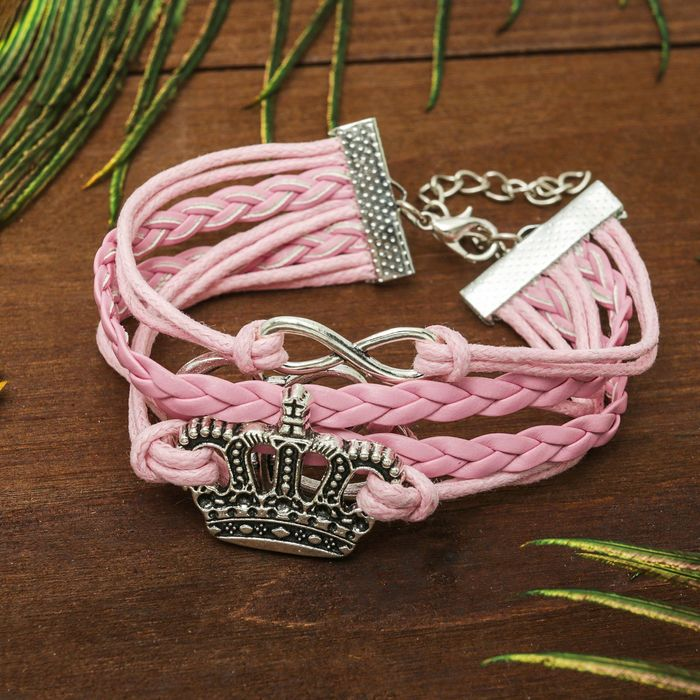 Браслет кожа Магия знаков принцесса, 5 нитей, цвет розовый
