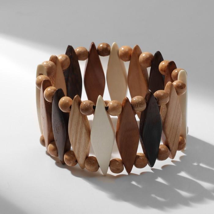 Браслет ручная работа, деревянный Ромбики, цветной