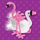 """Игрушка из меховых палочек """"Лебедь и фламинго"""""""